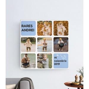 Tablou Canvas Personalizat - Baby Boy - 7 Poze + Nume + Data Nasterii - Printbu.ro - 1