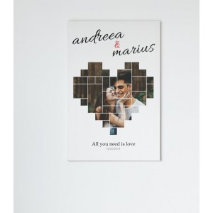 Tablou Canvas Personalizat - Inima - Nume si Data - Printbu.ro - 1
