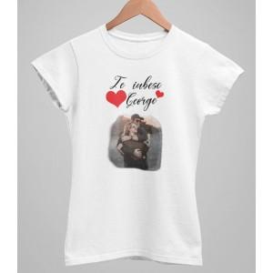 Tricou Personalizat Femei - Te iubesc - Nume + Poza - Printbu.ro - 1