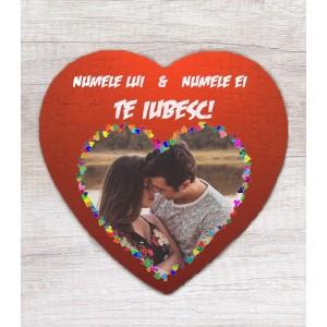 Puzzle Personalizat - Magnetic - Inima - Te Iubesc! - Doua Nume si Poza - Printbu.ro - 1