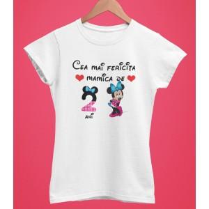 Tricou Personalizat Femei - Cea mai fericita mamica de 2 ani - Minnie Mouse - Printbu.ro - 1