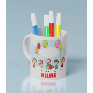Cana Personalizata Mica - Simpla - Copii cu Baloane - Nume - Printbu.ro - 1