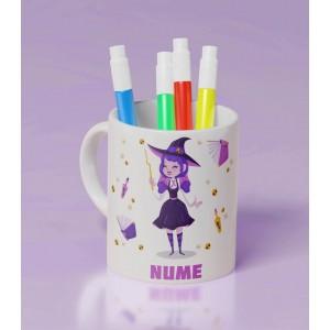Cana Personalizata Mica - Simpla - Witch - Nume - Printbu.ro - 1