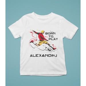 Tricou Personalizat Baieti - Born To Play - Striker - Nume - Printbu.ro - 1
