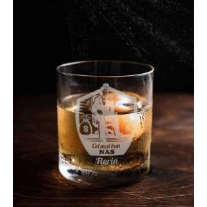 Pahar Whisky Personalizat - Cel Mai Bun Nas - Nume - Printbu.ro - 1