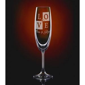 Pahar Sampanie Personalizat - Gravat - LOVE - Doua Nume - Printbu.ro - 1
