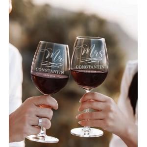 Set Pahare Vin Personalizate - Gravate - Mr/Mrs - Nume - Data - Printbu.ro - 2