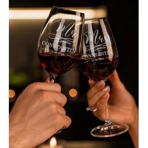 Set Pahare Vin Personalizate - Gravate - Mr/Mrs - Nume - Data - Printbu.ro - 1