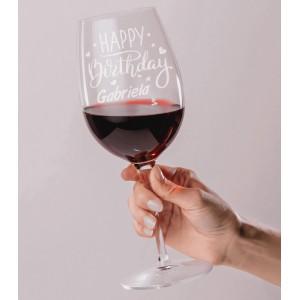 Pahar Vin Personalizat - Gravat - Happy Birthday - Nume - Printbu.ro - 1