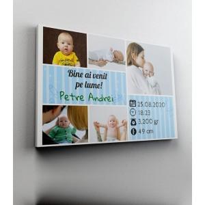 Tablou Canvas Personalizat - Date Nastere - Baietel - Colaj 5 Poze - Printbu.ro - 1