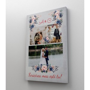 Tablou Canvas Personalizat - Flori - Colaj 3 Poze si Initiale - Printbu.ro - 1